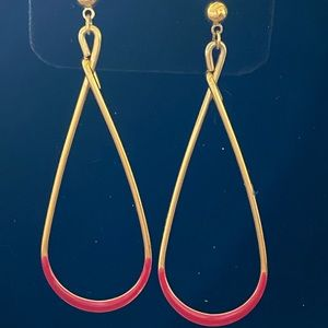 Red and goldtone dangle earrings